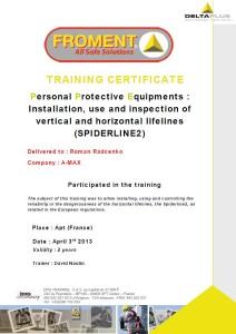 Záchytný systém proti pádu - Certifikát