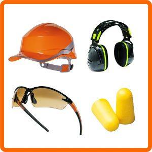 Pracovné prilby, ochranné okuliare, chrániče sluchu